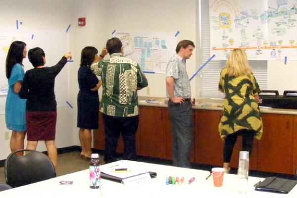 HiSam team at work reviewing charts