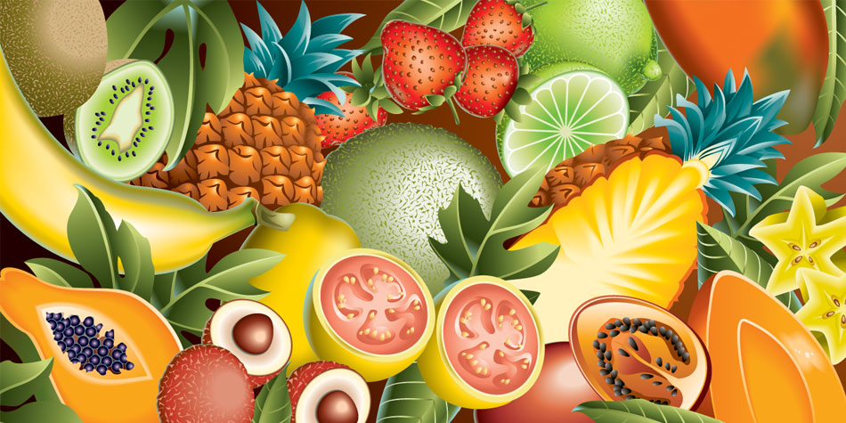 Ruth Moen illustration Airbrush Hilton Hawaiian Village Menu