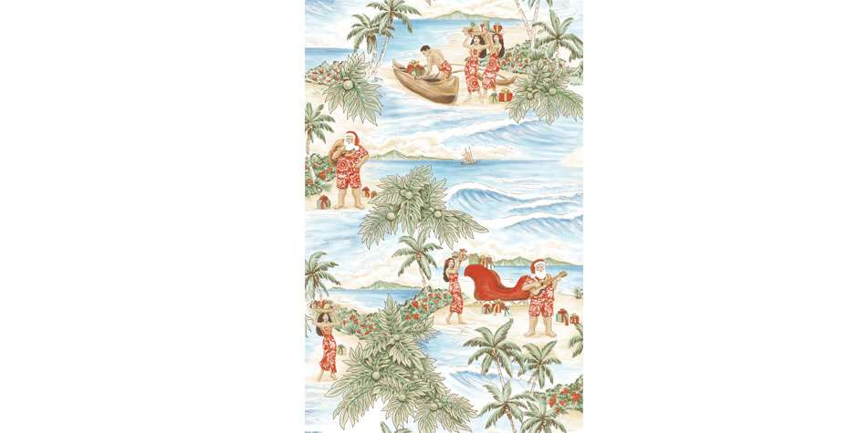 Ruth Moen illustration Textile Pattern Kahala by Tori Richards South Seas Xmas