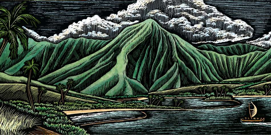 Ruth Moen illustration Woodcut Engraving Kahala by Tori Richards Polynesia