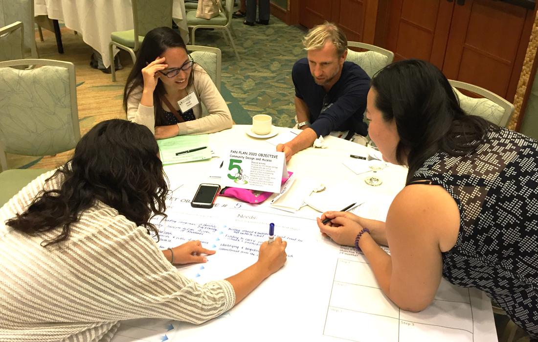 Breakout groups working with custom process graphic templates at the Department of Health 2015 PAN Forum Conference, Honolulu Hawaiig-template